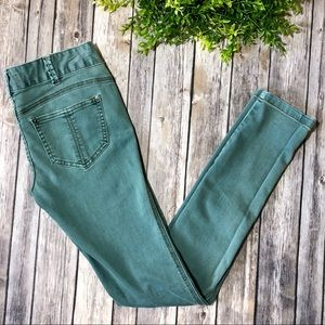 Free People Teal Blue Mid Rise Skinny Jeans